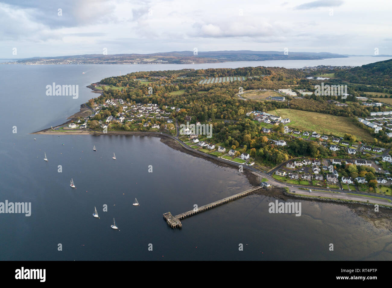 Aerial image looking south across the First of Clyde towards Gourock and Greenock from Dunoon. - Stock Image