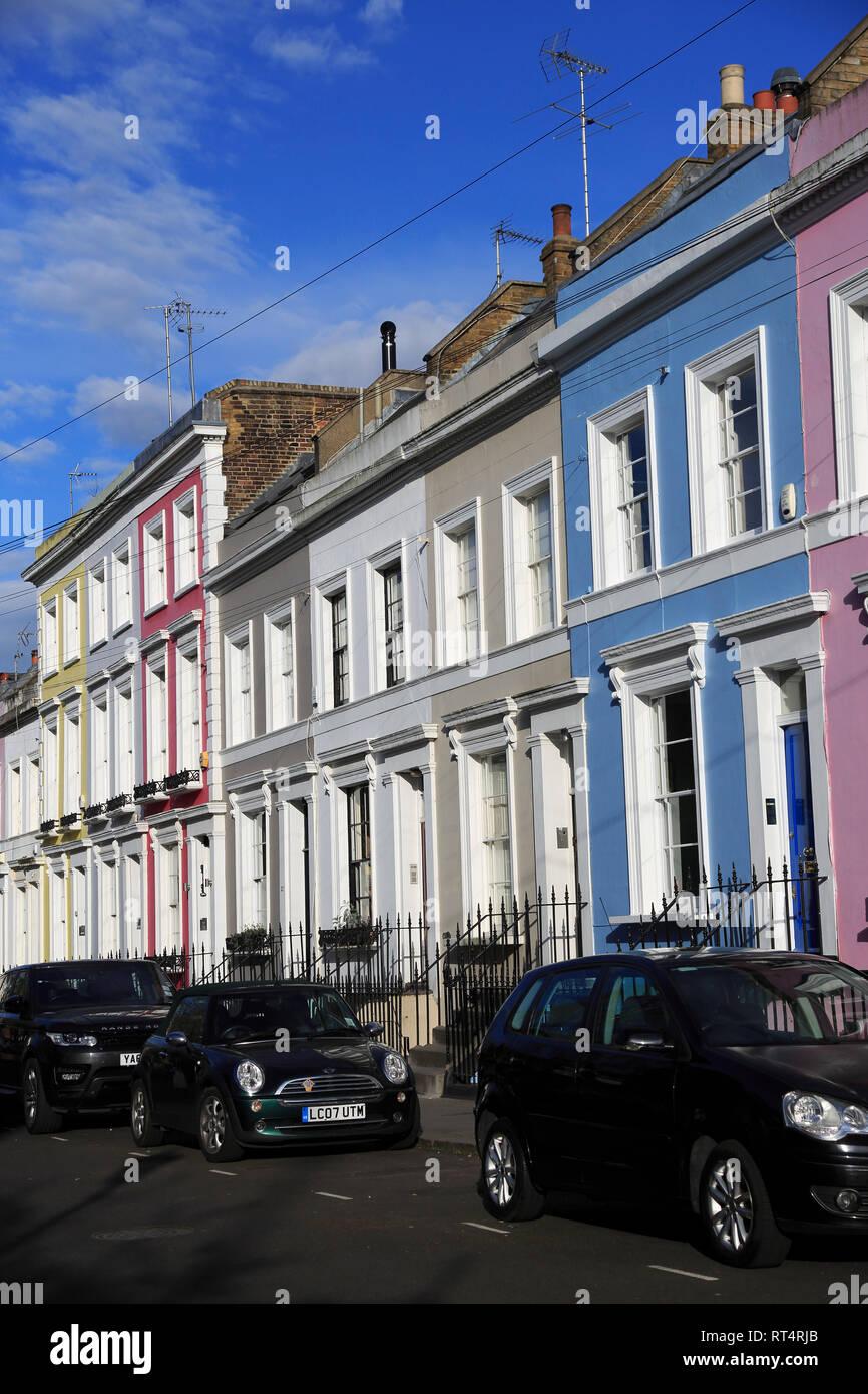 Colorful Houses, Architecture, Notting Hill, London, England, United Kingdom - Stock Image