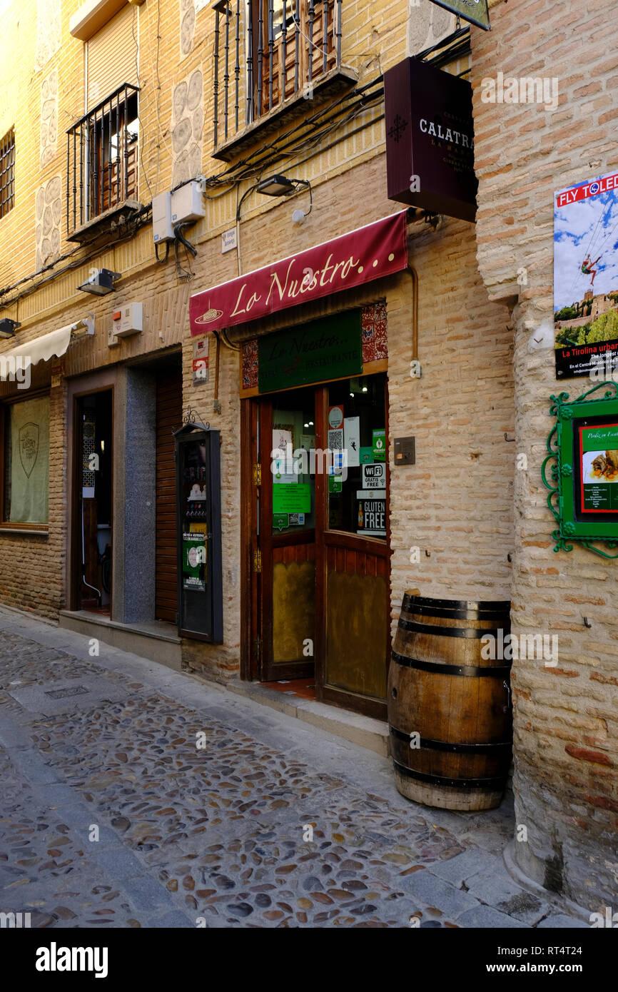 typical alleyway in Toledo, Castilla la Mancha, Spain Stock Photo