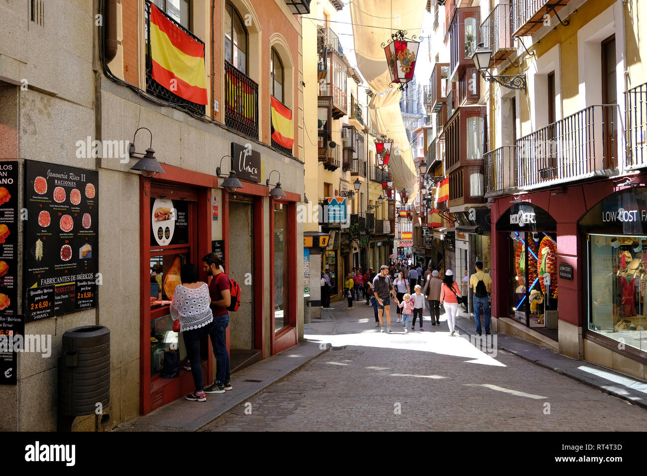 typical alleyway in Toledo, Castilla la Mancha, Spain Stock Photo