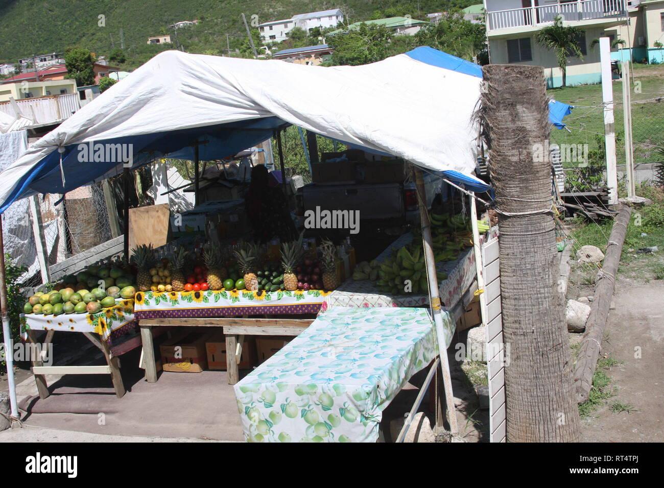 St Marten Fruit Stand Stock Photo