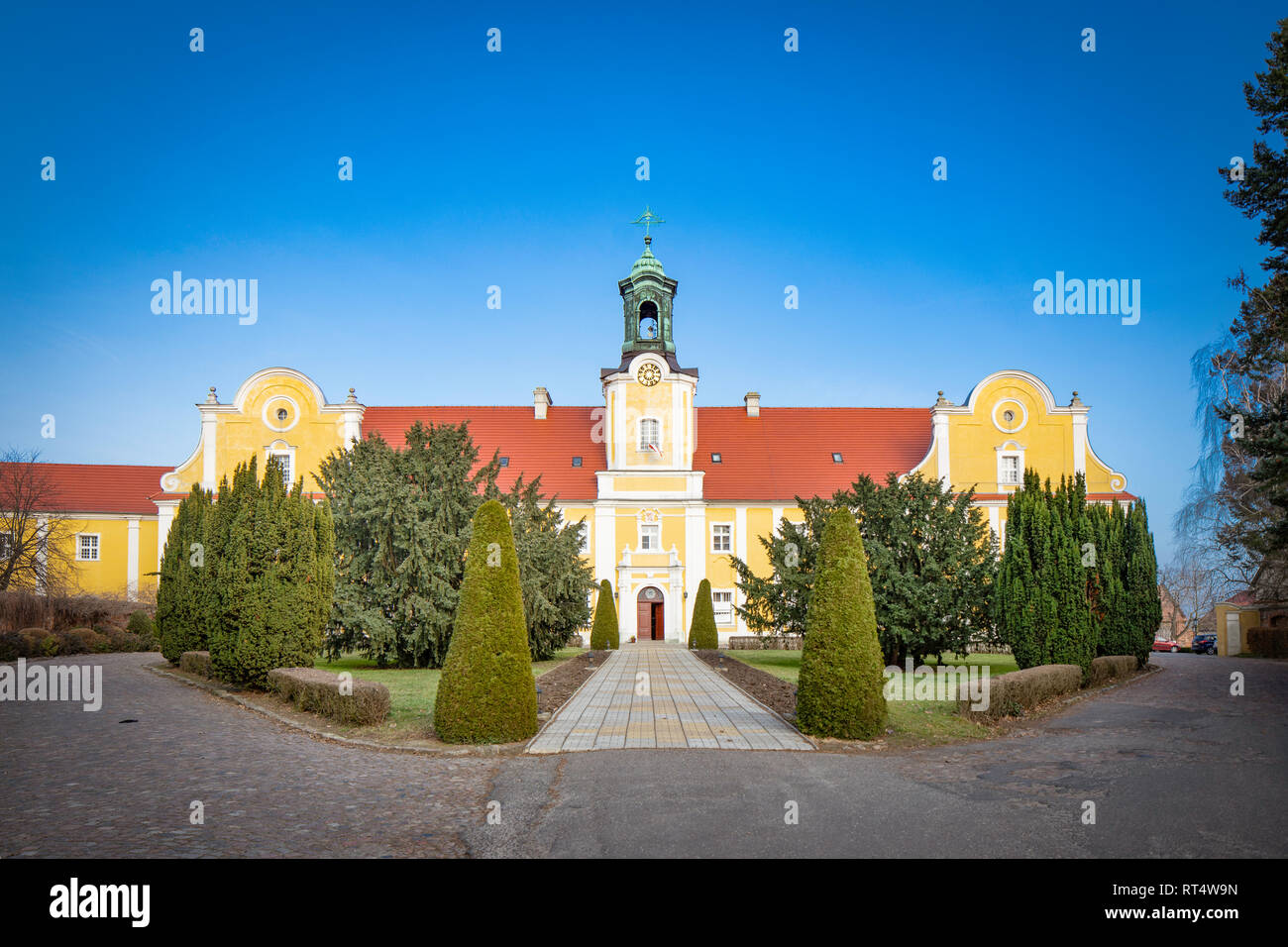 Basilica minor on the Holy Mountain in the village Glogowko /  Gostyn, Poland. Historic renaissance architecture. - Stock Image