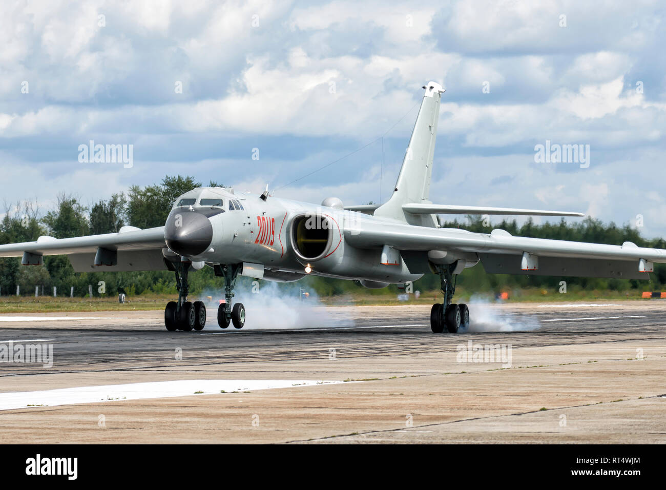 A People's Liberation Army Air Force Xian H-6K strategic bomber plane. - Stock Image