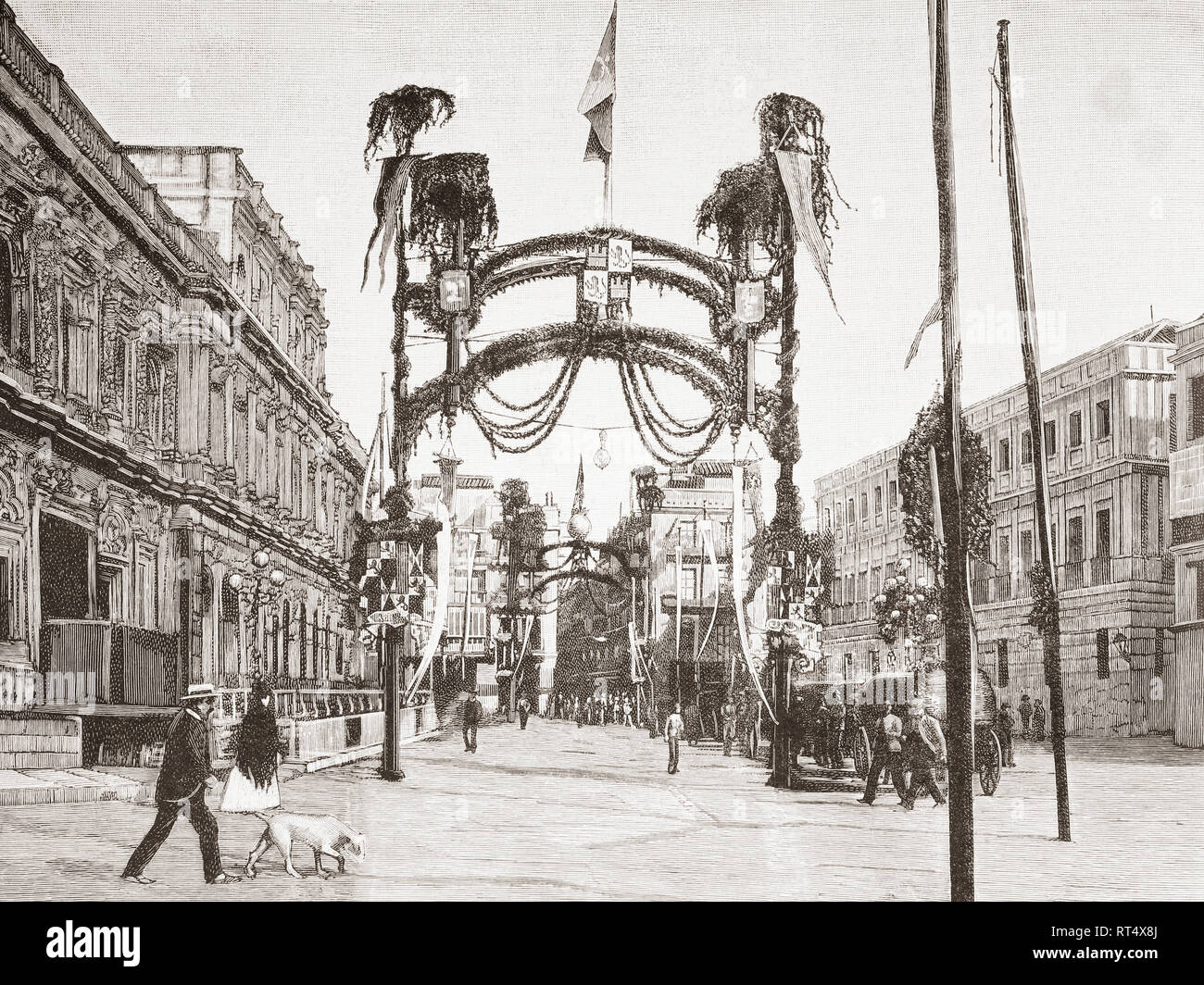 Triumphal arches in the streets of Seville, Spain during the annual Columbian Festival of 1887.  From La Ilustracion Artistica, published 1887. - Stock Image