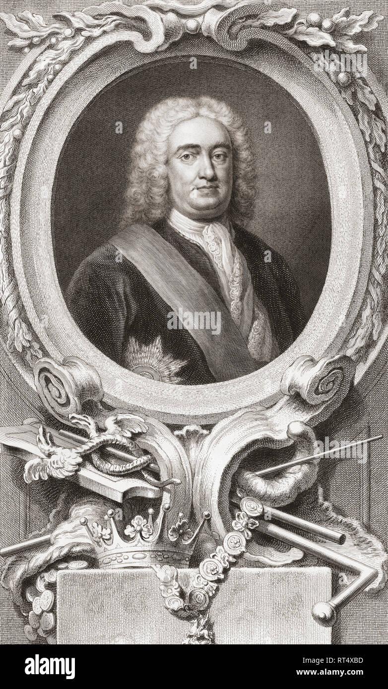 Robert Walpole, 1st Earl of Orford, 1676 -1745.  British statesman and Britain's first Prime Minister.  From the 1813 edition of The Heads of Illustrious Persons of Great Britain, Engraved by Mr. Houbraken and Mr. Vertue With Their Lives and Characters. - Stock Image