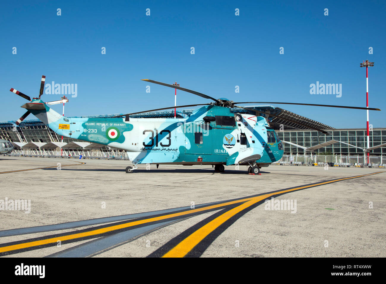 An ASH-3D Sea King anti-submarine helicopter of the Islamic Republic of Iran Navy. Stock Photo