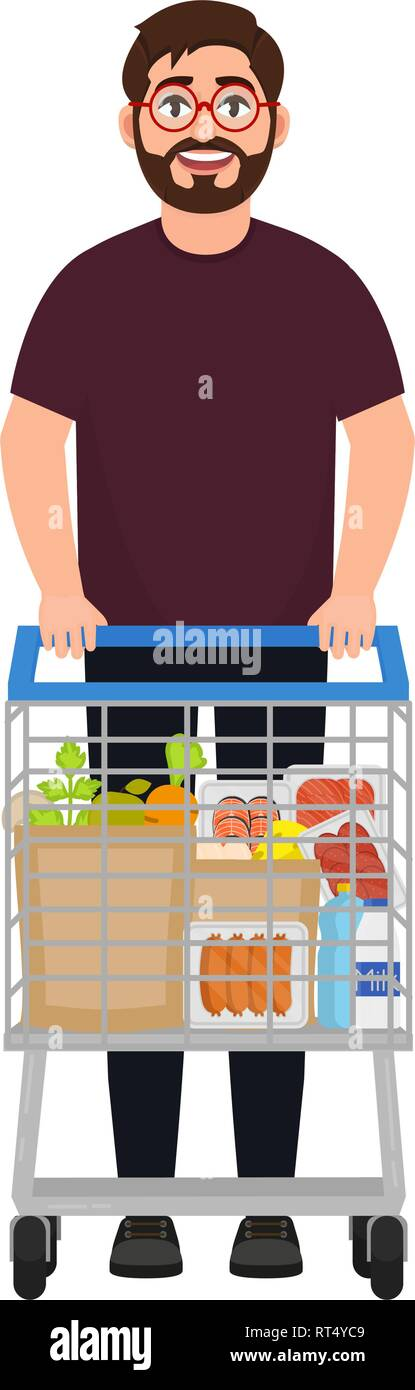 A bearded man stands with a shopping trolley, the trolley is filled with greyish products, makes purchases in a supermarket, a character in a cartoon  - Stock Vector