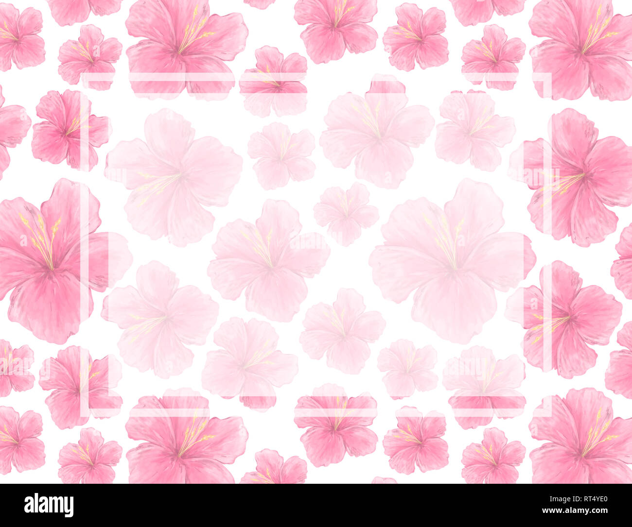 Watercolor Pink Flowers Blossoms Background Wedding Card
