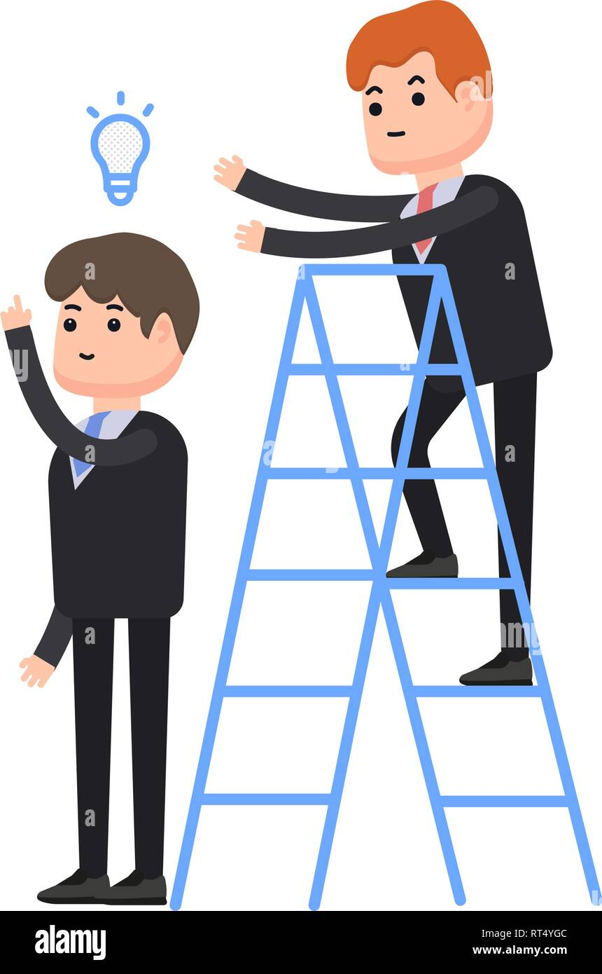 Theft of an idea, one businessman steals an idea from a second businessman, a businessman stands on a stepladder, characters in a flat style - Stock Vector