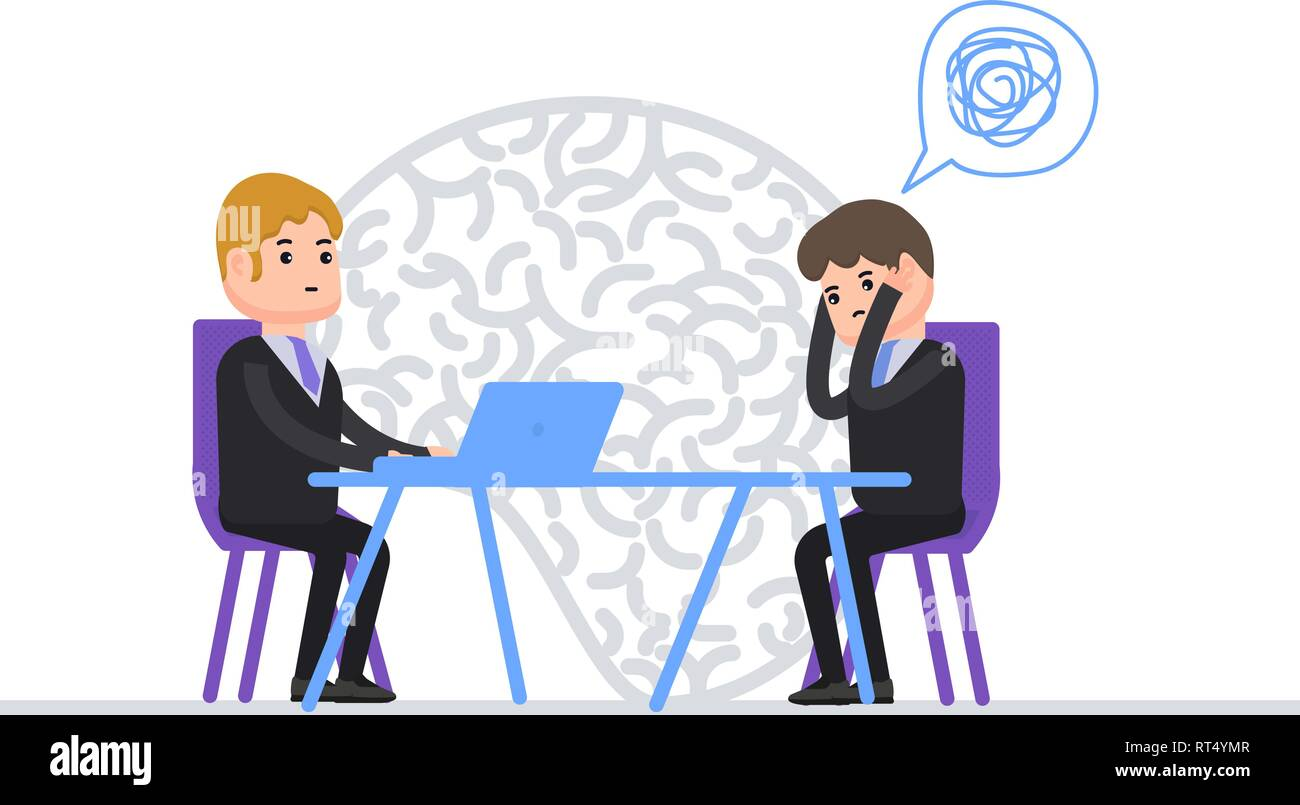 Psychotherapy, psychotherapist talks with patients, a person with mental disorder, mental illness, human psychology - Stock Vector