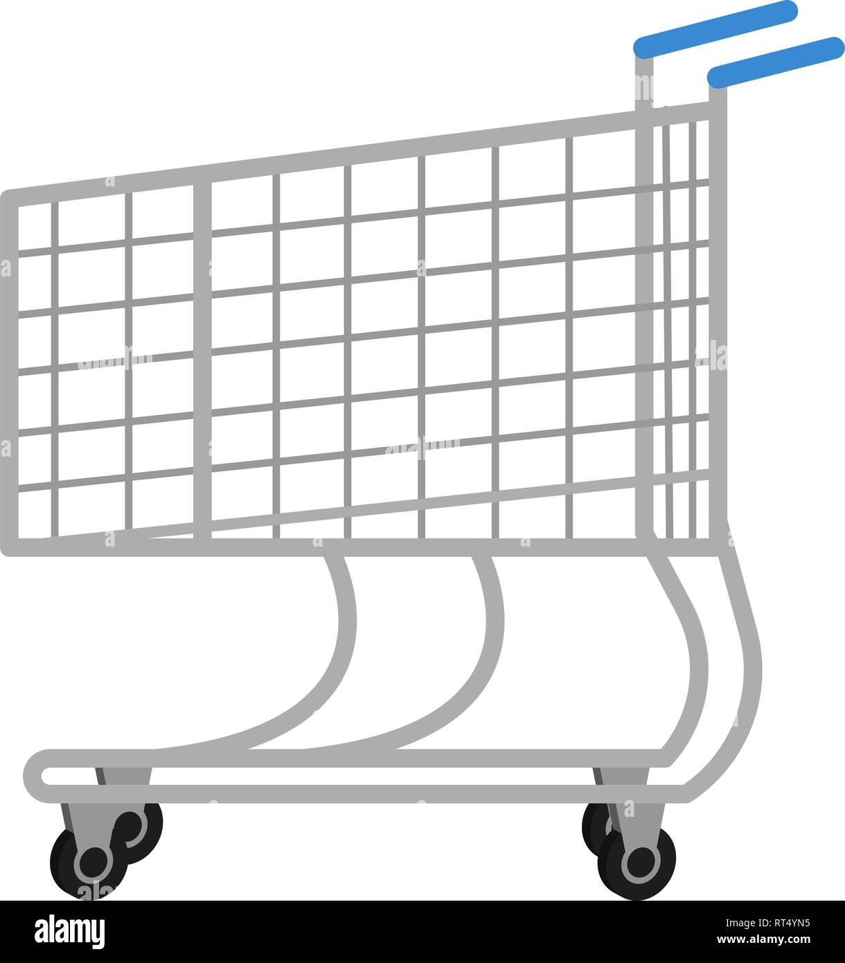 Shopping trolley for icons in flat style, trolley from a supermarket vector illustration on white background - Stock Image