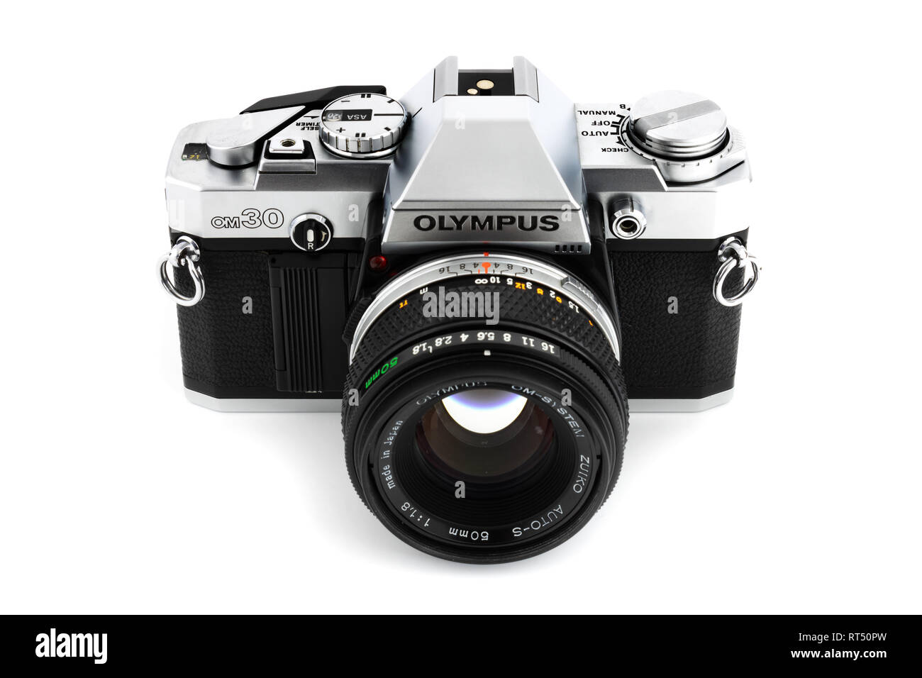 Prague, CZECH REPUBLIC - FEBRUARY 21, 2019: Olympus OM-30 a 35mm film SLR camera, launched by Olympus Corporation, laid on white background - Stock Image