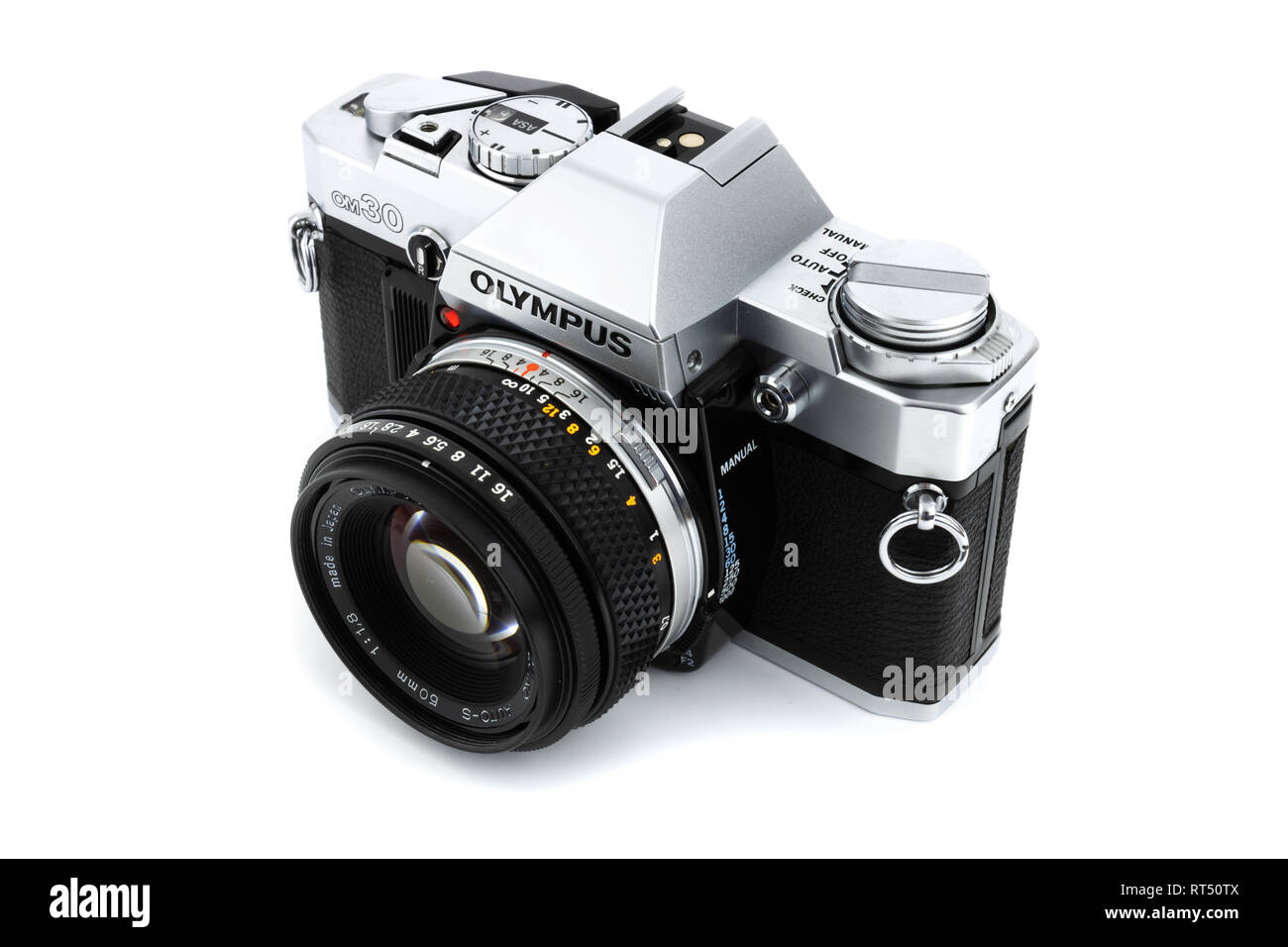 Prague, CZECH REPUBLIC - FEBRUARY 21, 2019: Olympus OM-30 a 35mm film SLR camera, launched by Olympus Corporation, laid on white background Stock Photo