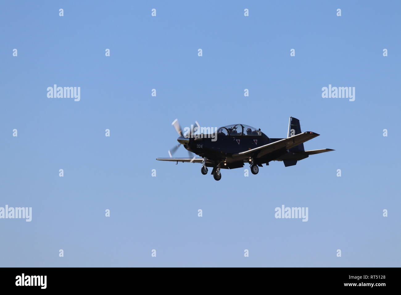 Tucano Trainer, at RAF Valley, Anglesey, North Wales - Stock Image