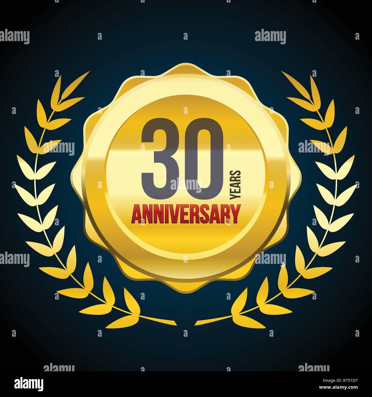 Anniversario Matrimonio 51 Anni.30 Years Anniversary Gold And Red Badge Logo Vector Illustration