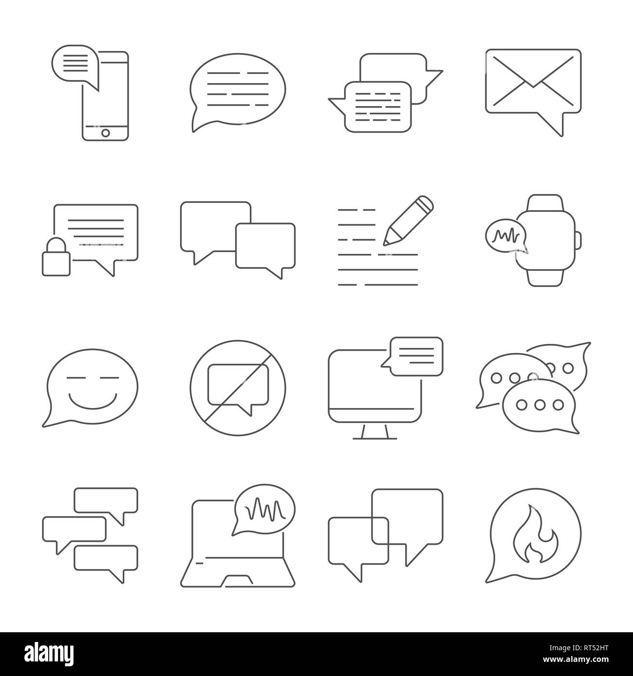 Messages and Chats line icons set. Dialog and communication linear icons. Speech bubbles outline vector sign collection. Editable Stroke. EPS 10 - Stock Image