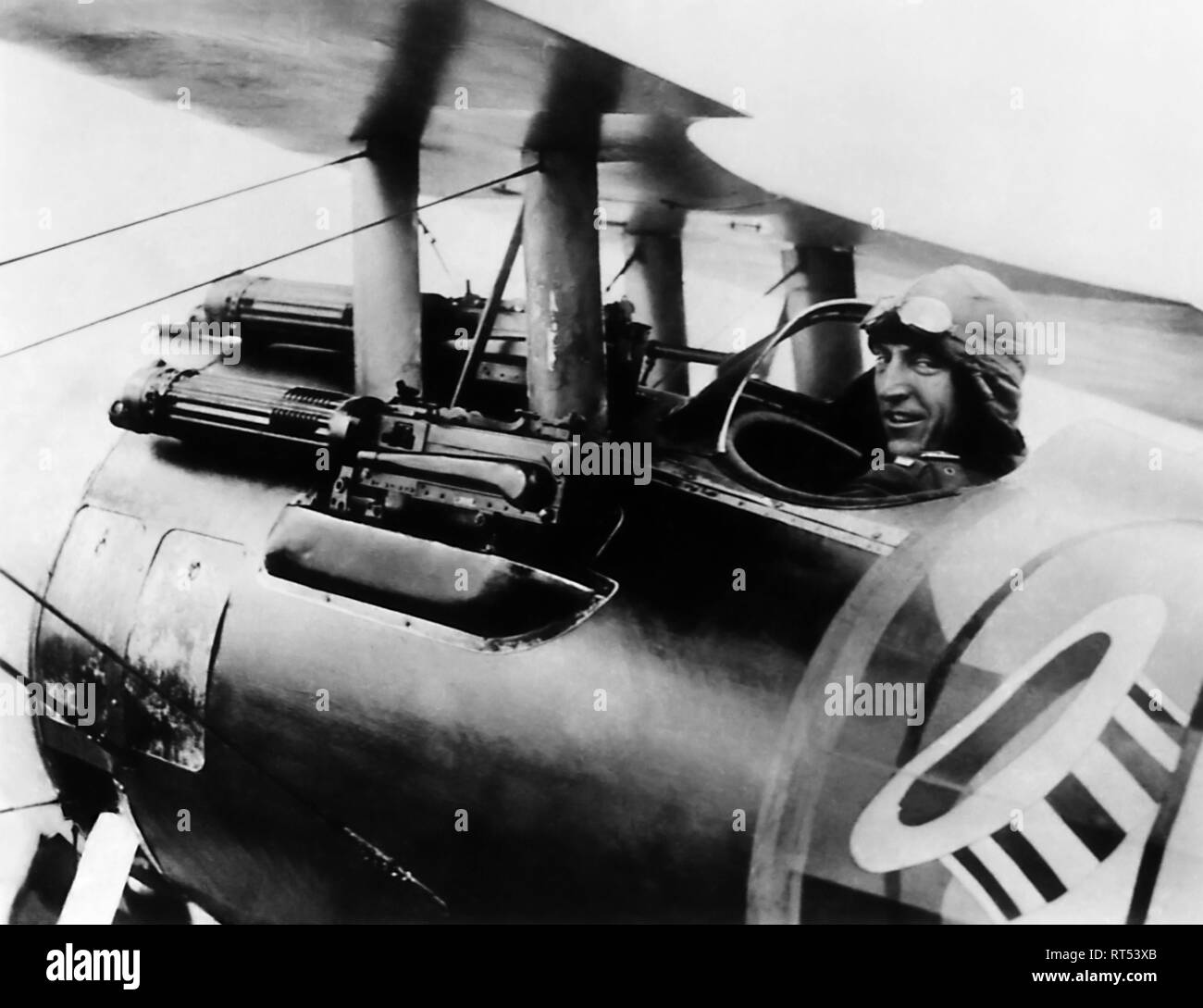 American history photograph of Eddie Rickenbacker on board his Spad biplane. - Stock Image
