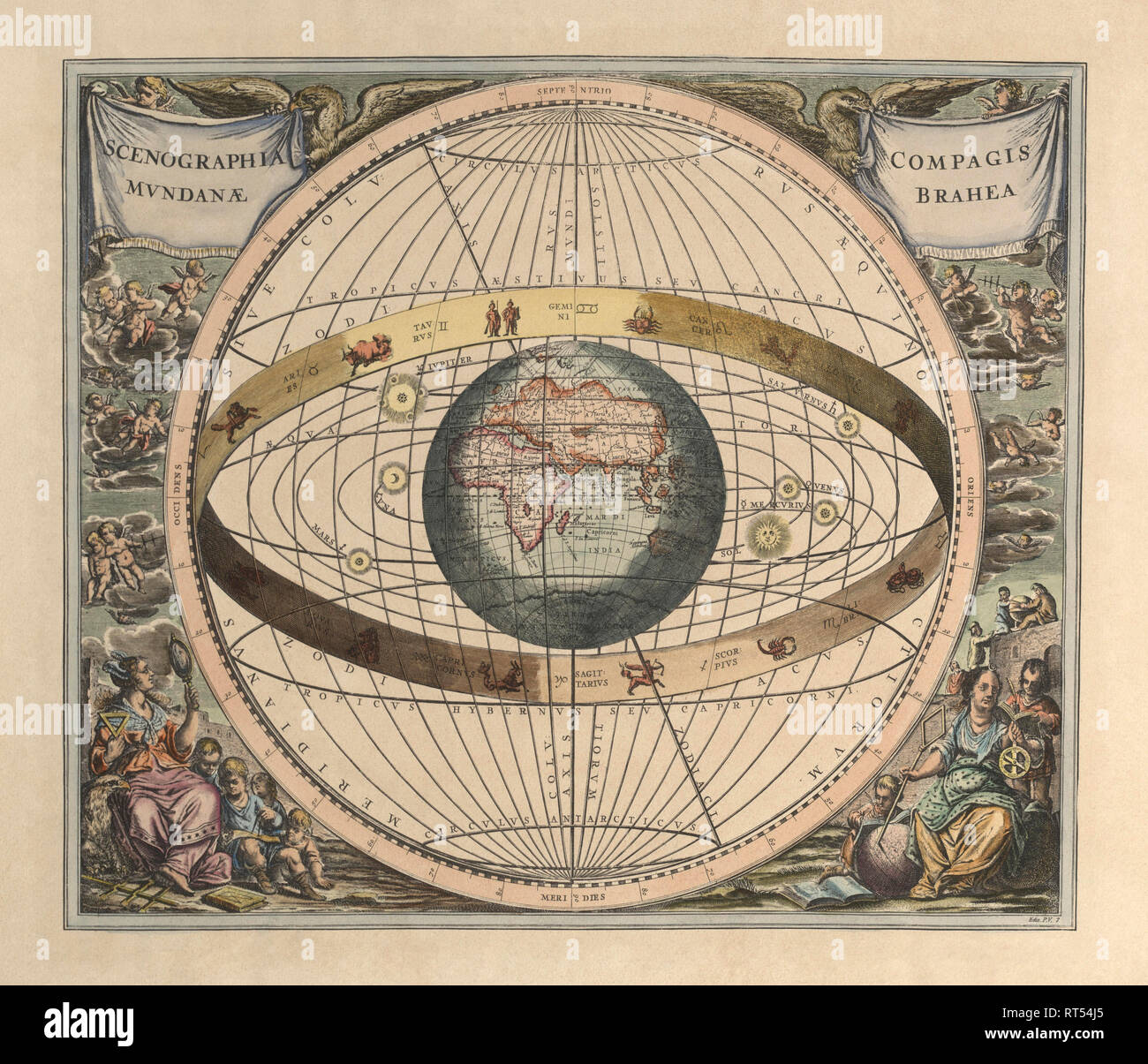 Vintage astronomy print depicts a view of geocentrism. Stock Photo