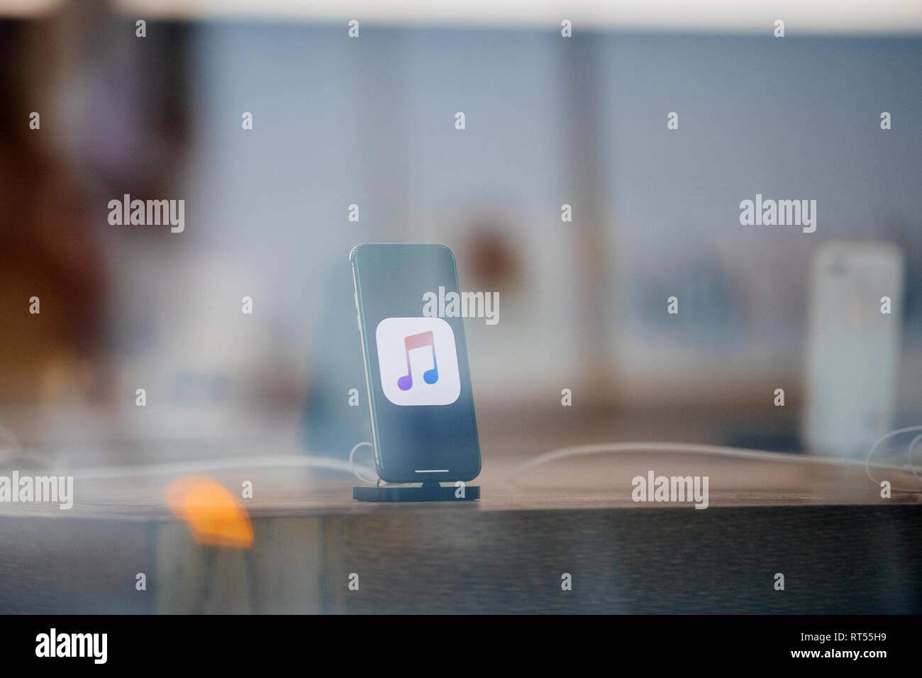 STRASBOURG, FRANCE - NOV 3, 2017: Latest Apple iPhone X goes
