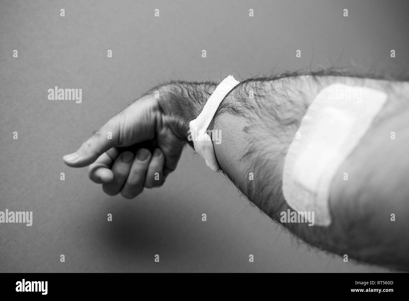 Close-up detail of man hand with adhesive tape after blood transfusion  analysis with part of the hair been removed by shaving - black and white image  - Stock Image