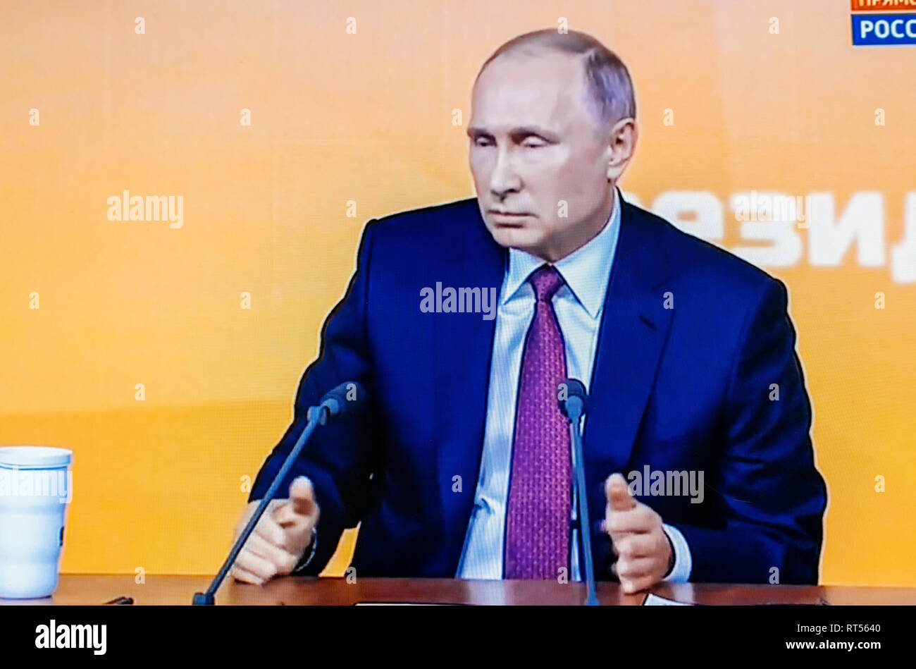 PARIS, FRANCE - DEC 14, 2017: POV watching on Youtube live channel of Rossiya RTR the Russian President Vladimir Putin give final media Q&A before March election - Stock Image