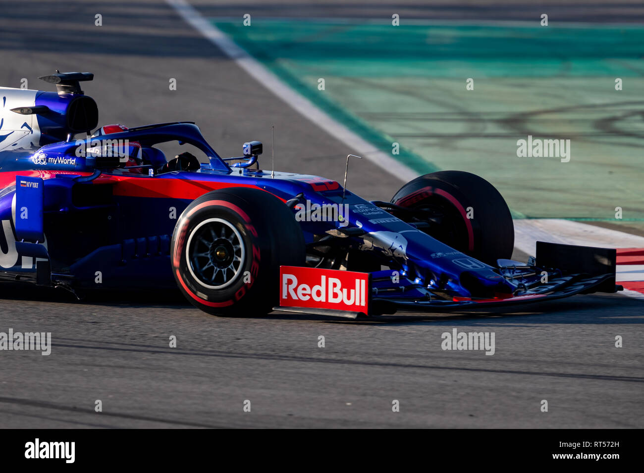 Daniil Kvyat of Scuderia Toro Rosso Honda seen in action during the second journey of second week F1 Test Days in Montmelo circuit. - Stock Image