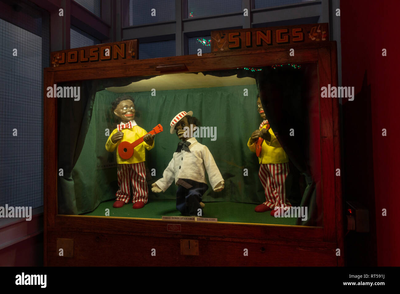 Automaton called 'Jolson Sings' from early 20th Century, York Castle Museum, York, Yorkshire, UK. - Stock Image
