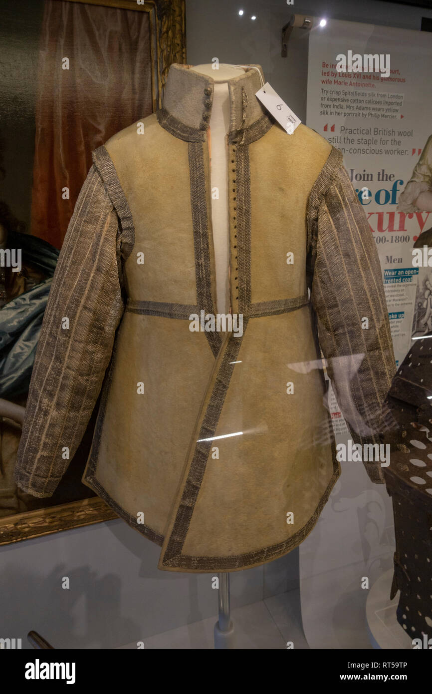 A Cavarlryman's buff leather jerkin from 1630-45, York Castle Museum, York, Yorkshire, UK. - Stock Image