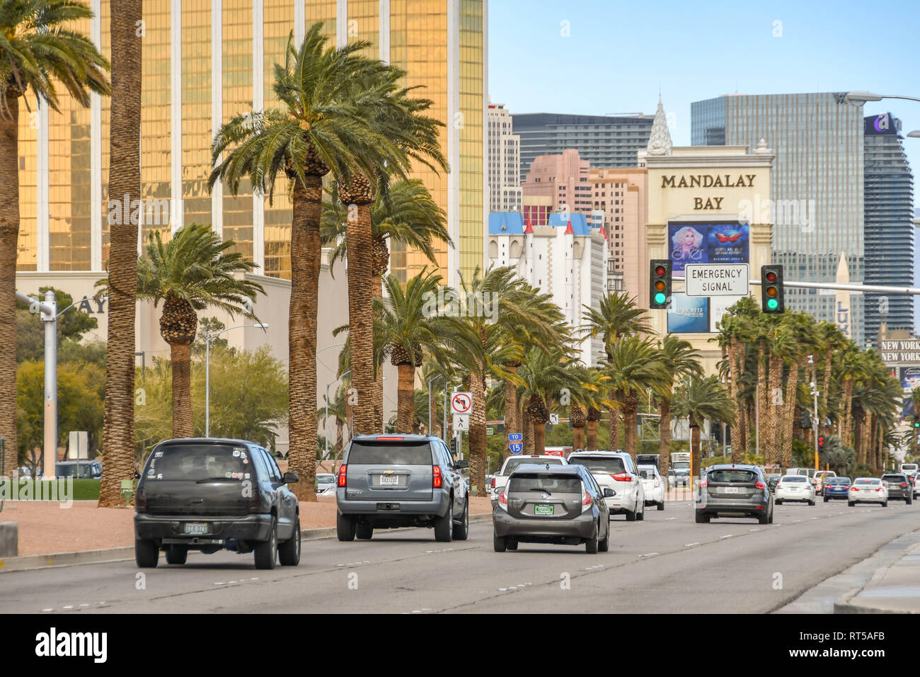 LAS VEGAS, NEVADA, USA - FEBRUARY 2019: Traffic northbound on Las