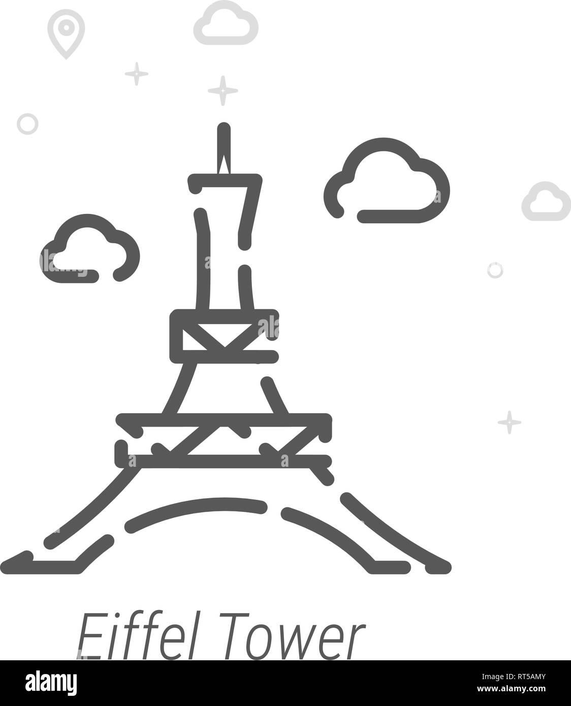 Eiffel Tower, Paris Vector Line Icon. Historical Landmarks Symbol, Pictogram, Sign. Light Abstract Geometric Background. Editable Stroke. Adjust Line  - Stock Vector