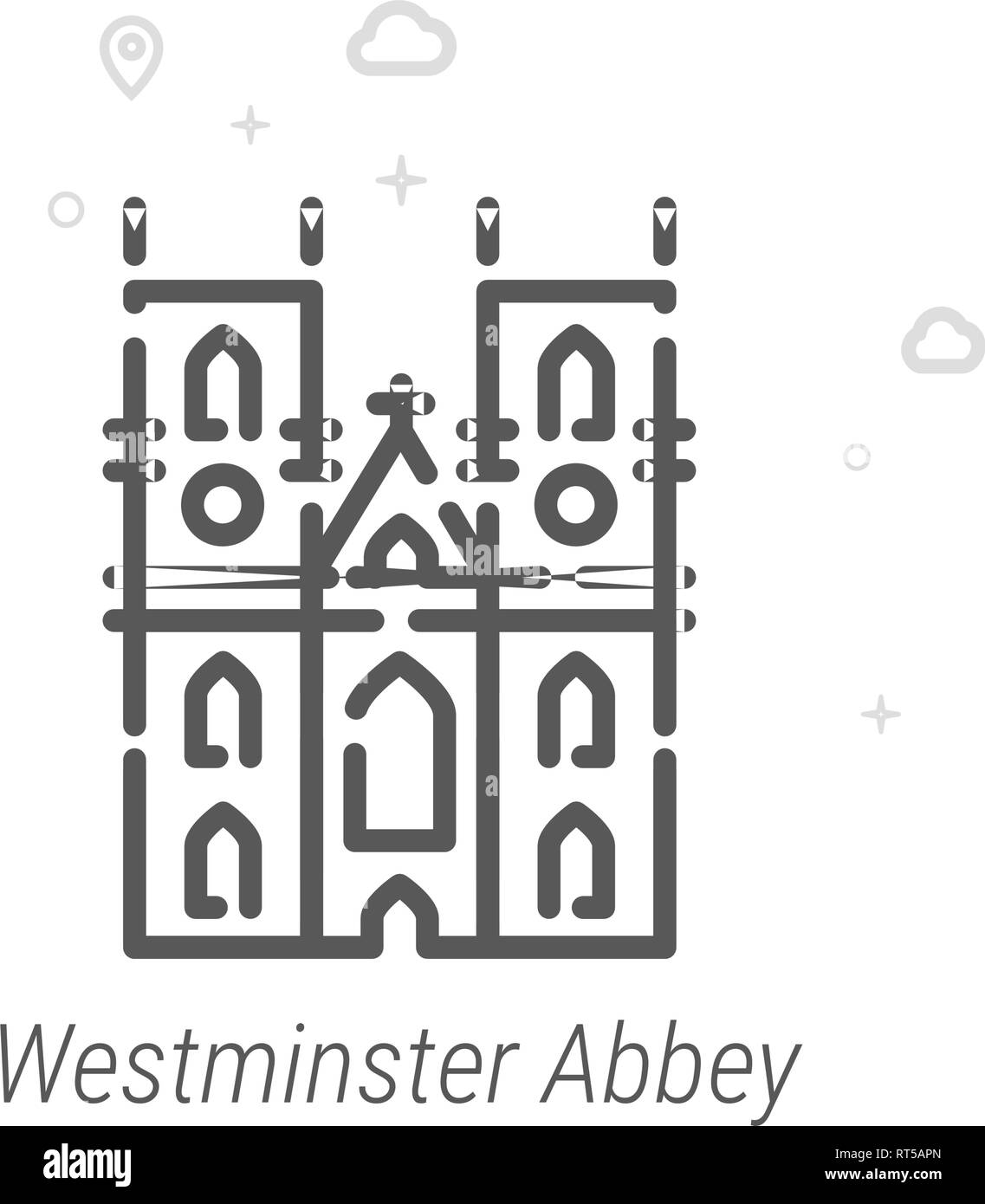 Westminster Abbey, London Vector Line Icon. Historical Landmarks Symbol, Pictogram, Sign. Light Abstract Geometric Background. Editable Stroke. Adjust - Stock Image