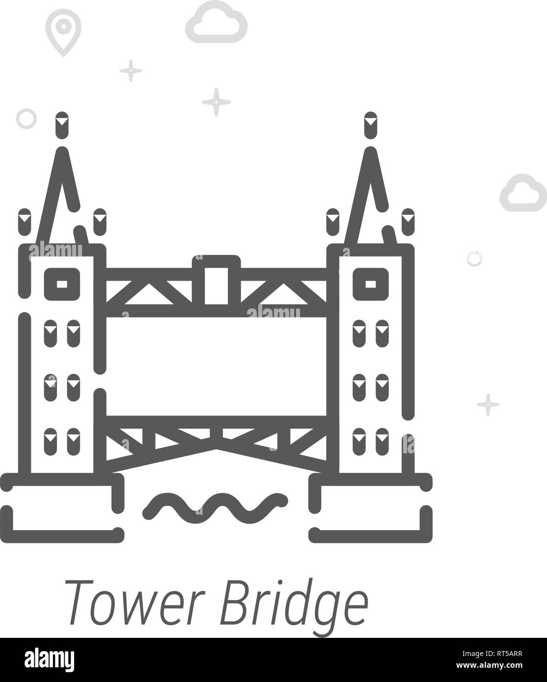Tower Bridge, London Vector Line Icon. Historical Landmarks Symbol, Pictogram, Sign. Light Abstract Geometric Background. Editable Stroke. Adjust Line - Stock Image