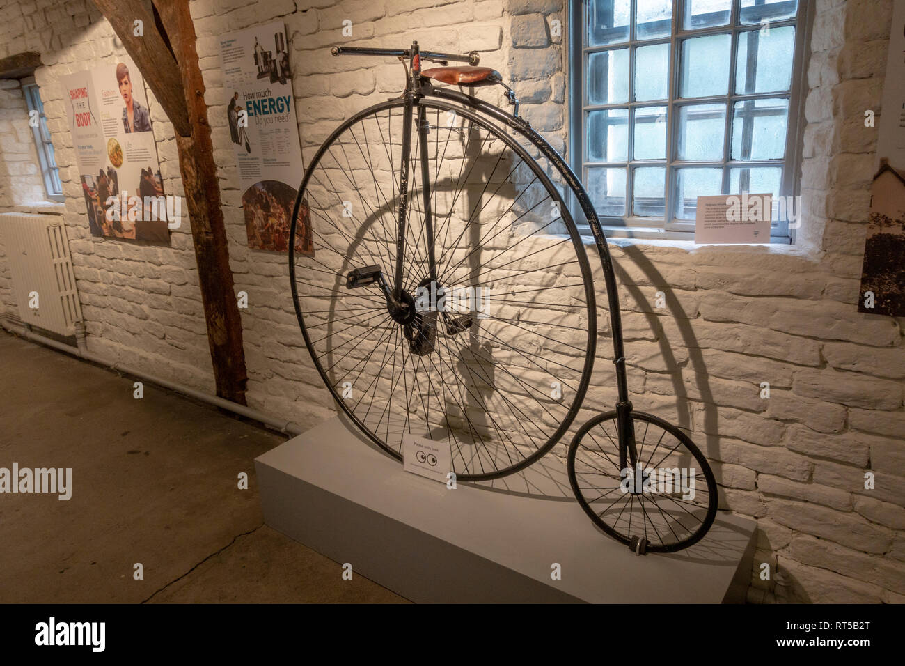 An Ordinary bicycle from 1870-80 (or penny farthing), York Castle Museum, York, Yorkshire, UK. - Stock Image