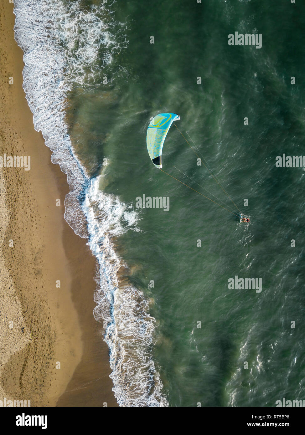 Indonesia, Bali, Berawa beach, Aerial view of kite surfer - Stock Image