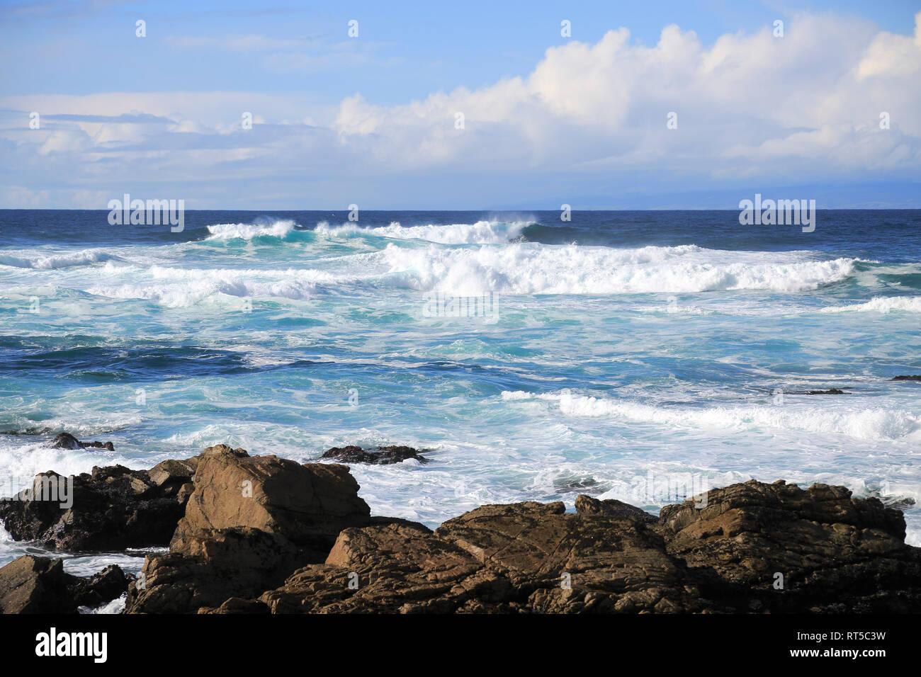 17 Mile Drive, Rocky Coastline, Pebble Beach, Monterey Peninsula, Pacific Ocean, California, USA - Stock Image