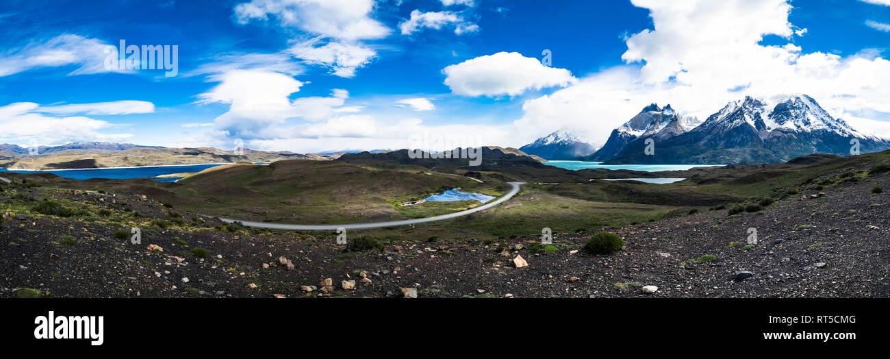 Chile, Patagonia, Torres del Paine National Park, Cerro Paine Grande and  Torres del Paine, Lago Nordenskjold - Stock Image