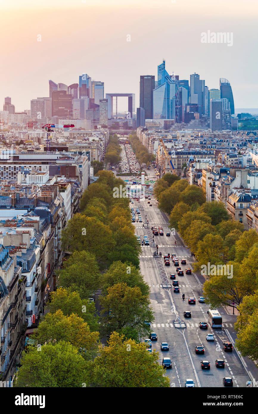France, Paris, cityscape with Avenue de la Grande Armee and La Defense - Stock Image