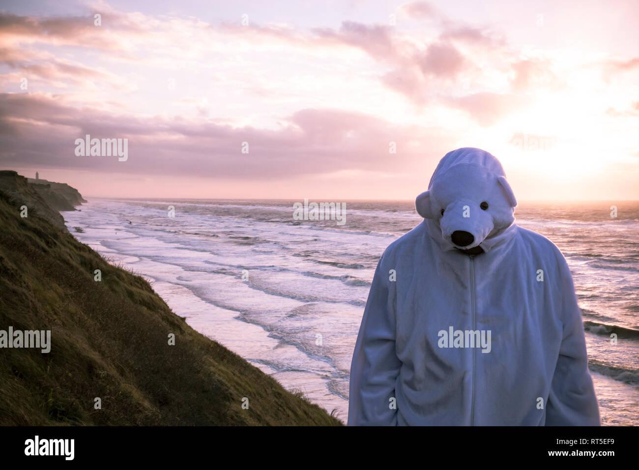 Denmark, Nordjuetland, Man wearing ice bear costume at the beach - Stock Image