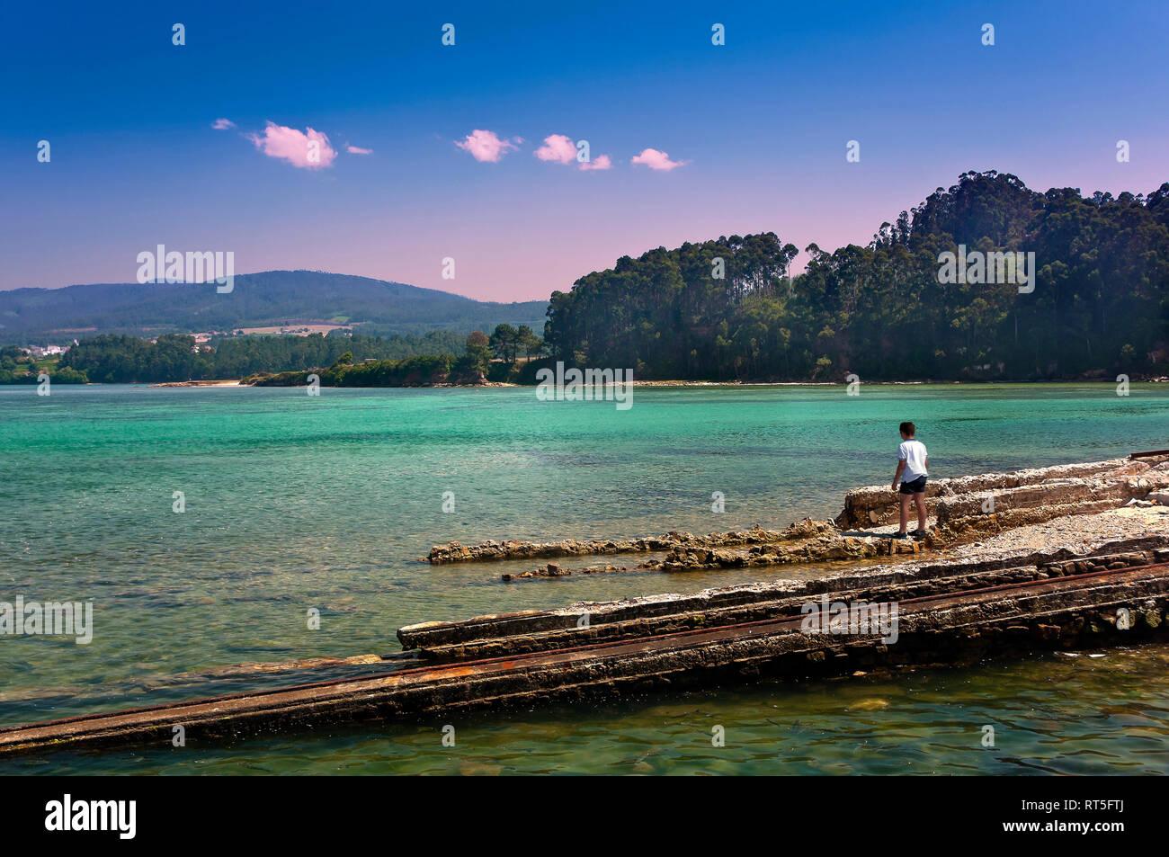 Foz estuary and old shipyard rails. Foz. Lugo province. Region of Galicia. Spain. Europe - Stock Image