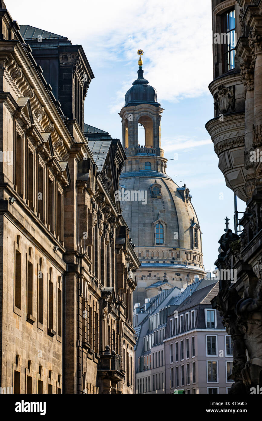 Germany, Dresden, view to Church of Our Lady Stock Photo