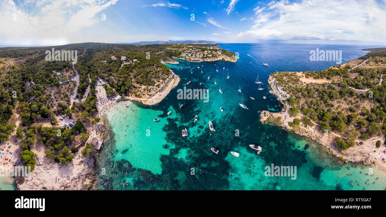 Spain, Mallorca, Palma de Mallorca, Aerial view of Calvia region, El Toro, Portals Vells - Stock Image