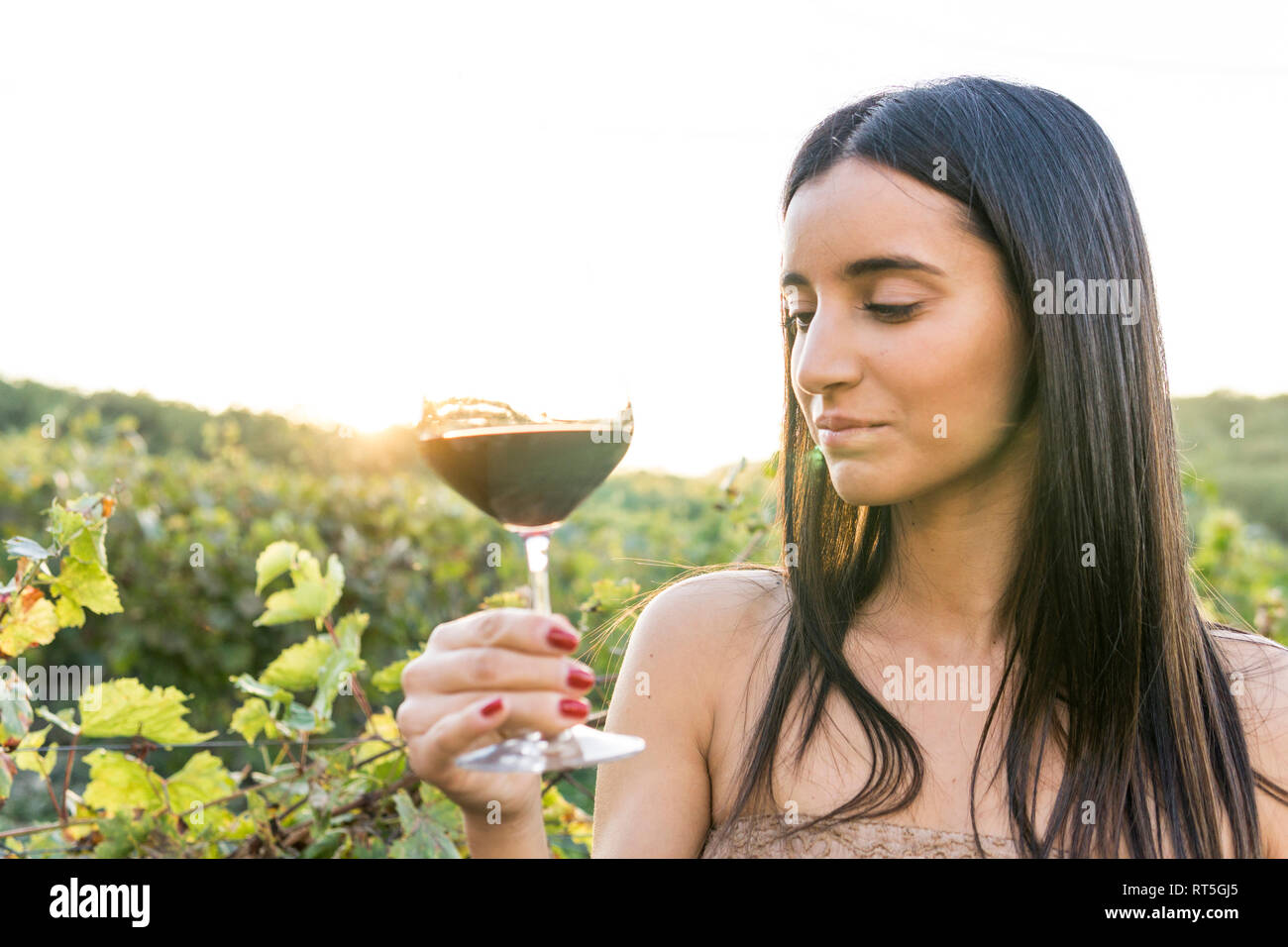 Italy, Tuscany, Siena, young woman tasting red wine in a vineyard at sunset Stock Photo