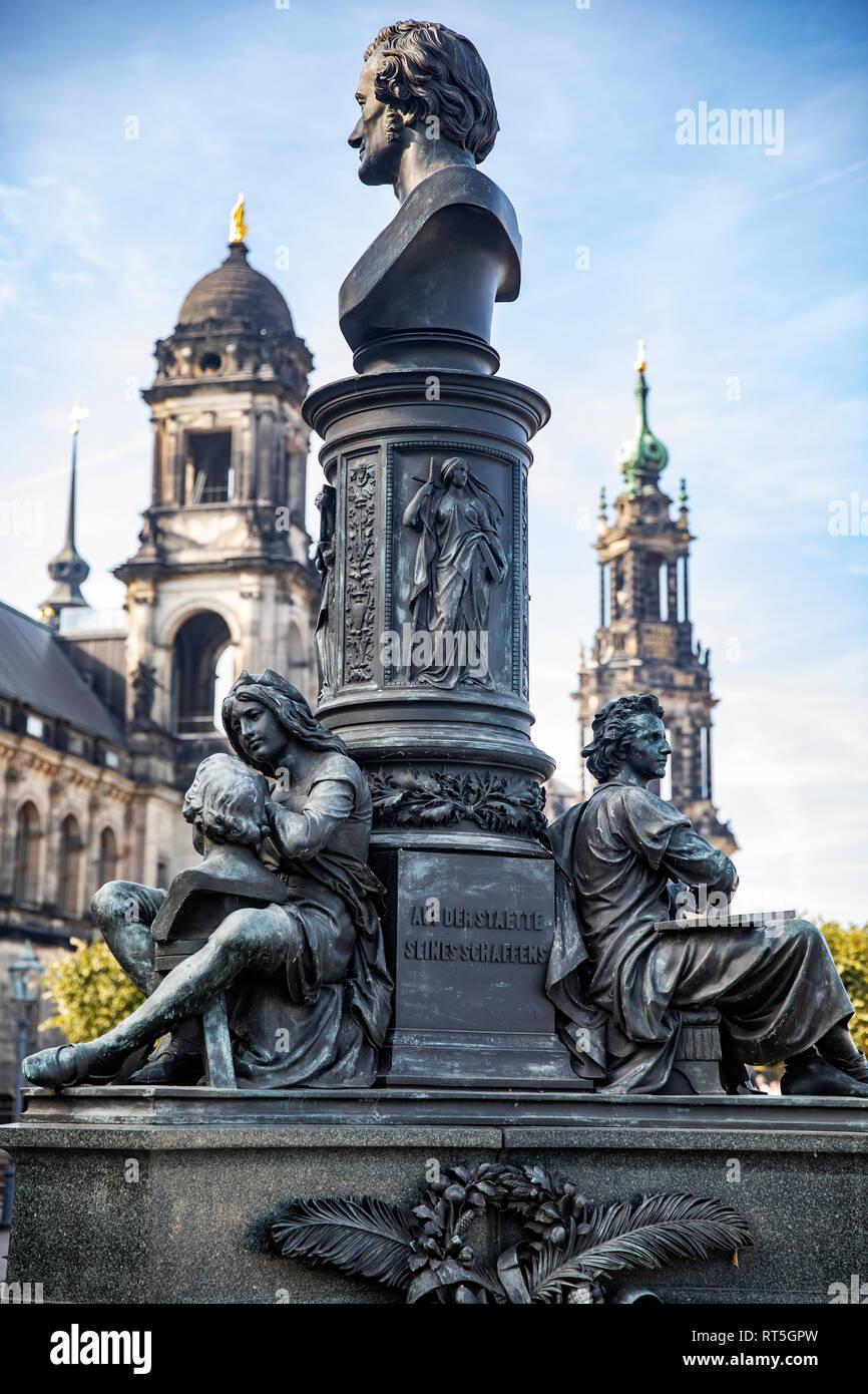 Germany, Dresden, monument of Ernst Rietschel at Bruehl's Terrace - Stock Image