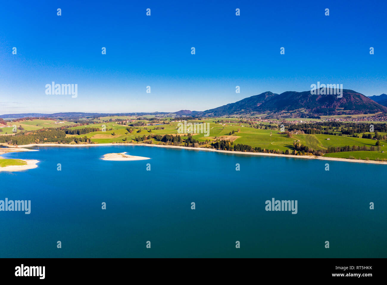 Germany, Bavaria, East Allgaeu, Fuessen, Schwangau, Dietringen, Aerial view of Lake Forggensee Stock Photo