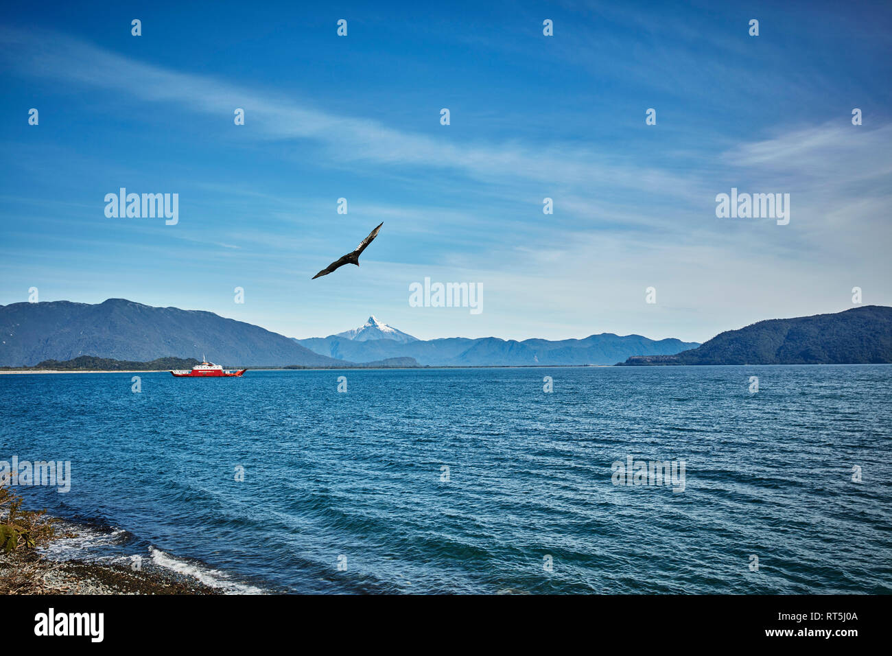 Chile, Chaiten, ferry in fjord at the Carretera Austral - Stock Image