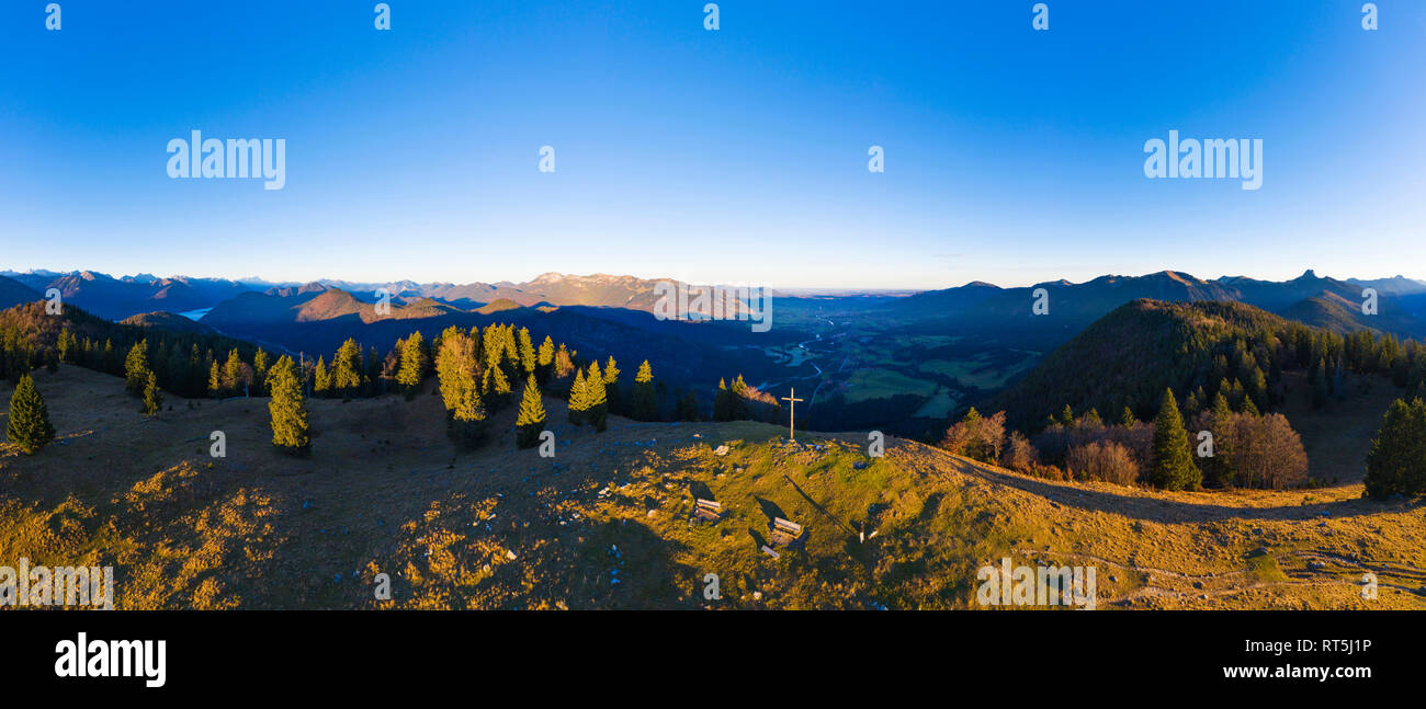 Germany, Bavaria, Isarwinkel, Bavarian Alps, View over Isar Valley, high alp near Lenggries, aerial view with drone - Stock Image
