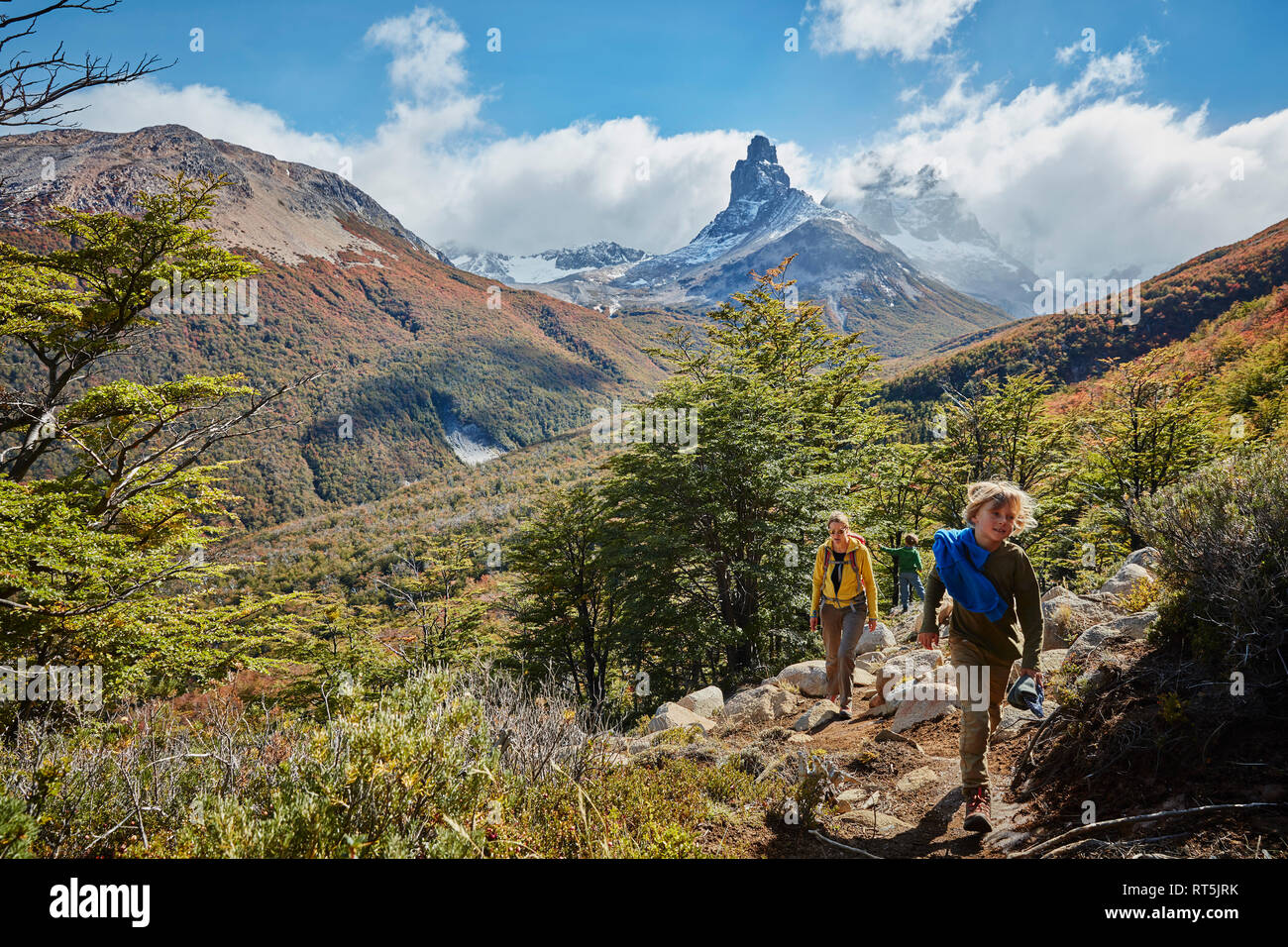 Chile, Cerro Castillo, mother with two sons on a hiking trip in the mountains Stock Photo