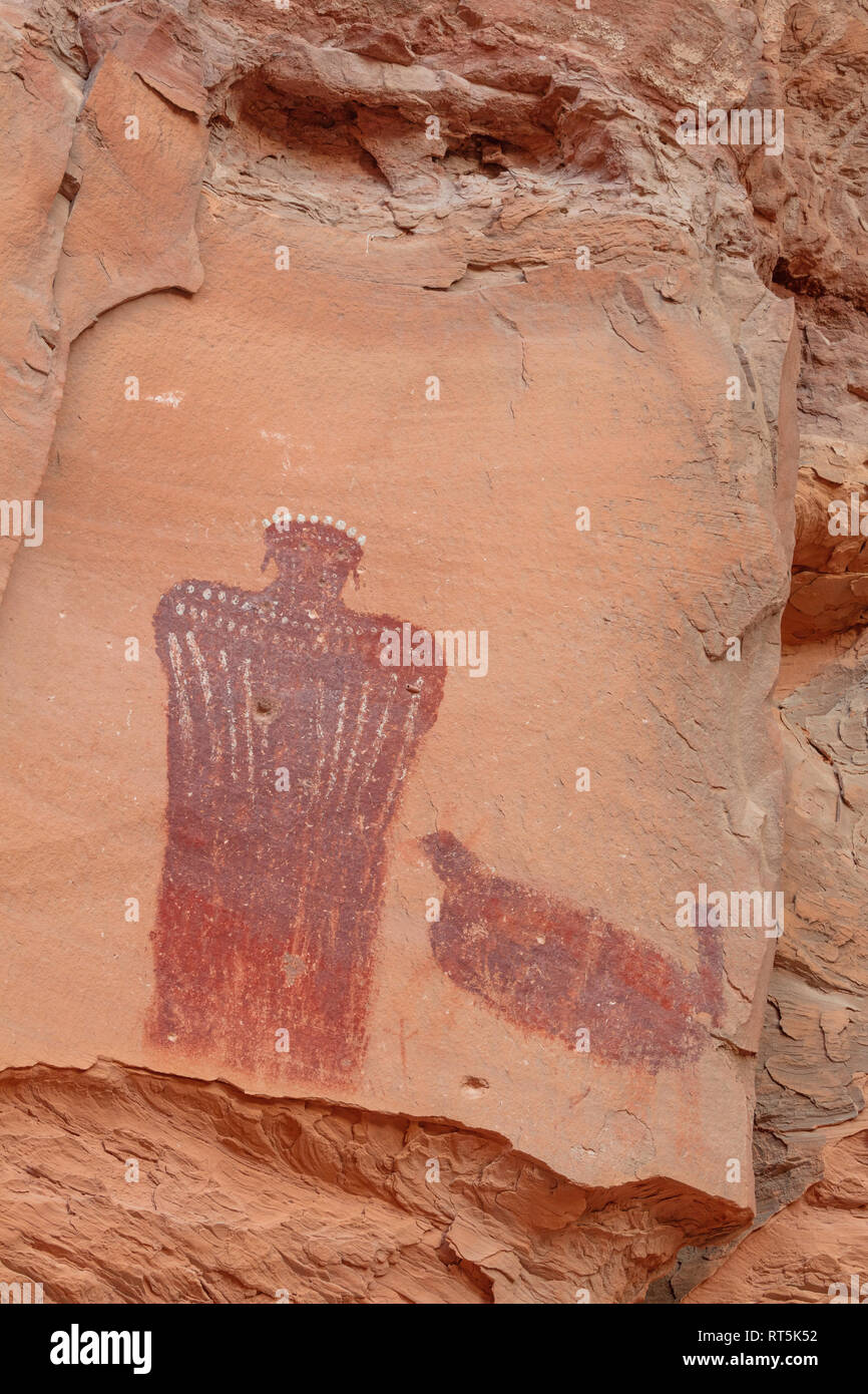 Crowned Figure Pictograph, Barrier Canyon style, Hog Springs Picnic Area, Trail of the Ancients Scenic Byway, Utah - Stock Image