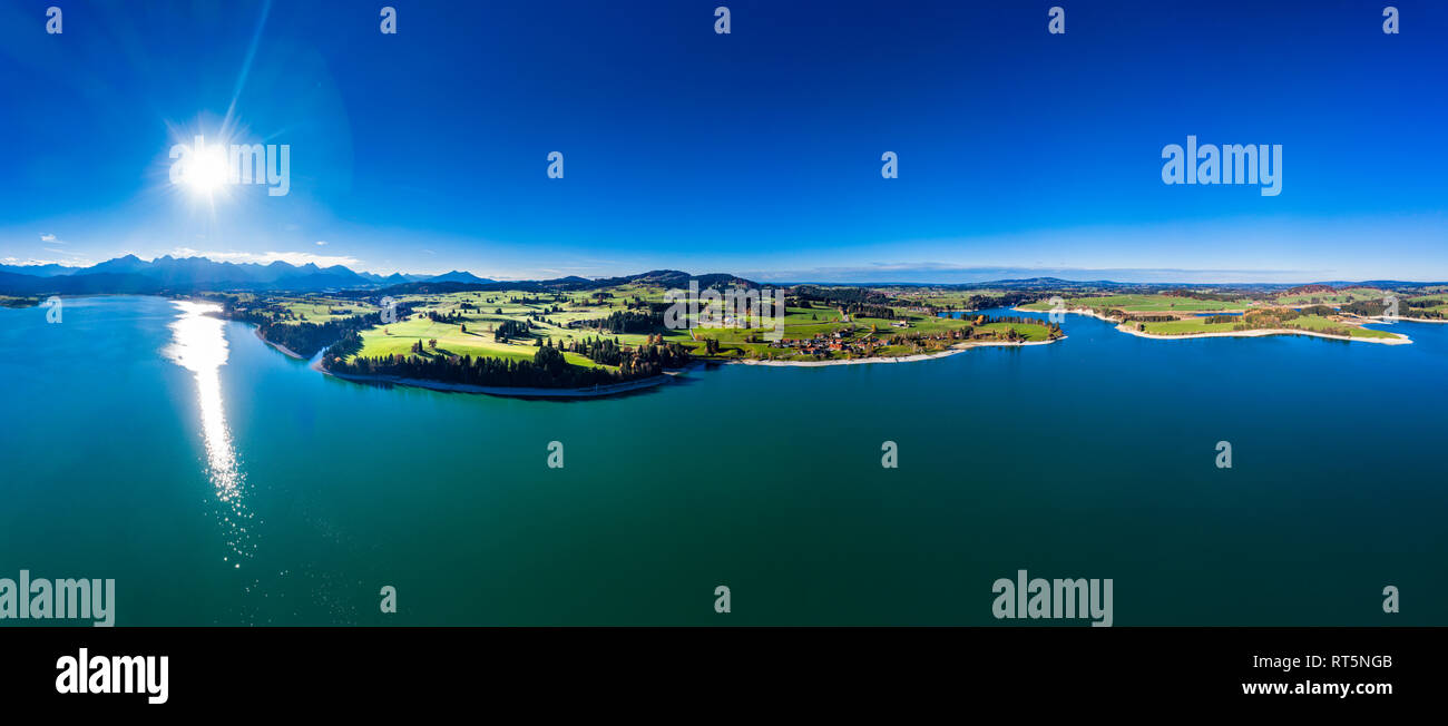 Germany, Bavaria, East Allgaeu, Fuessen, Schwangau, Dietringen, Aerial view of Lake Forggensee - Stock Image