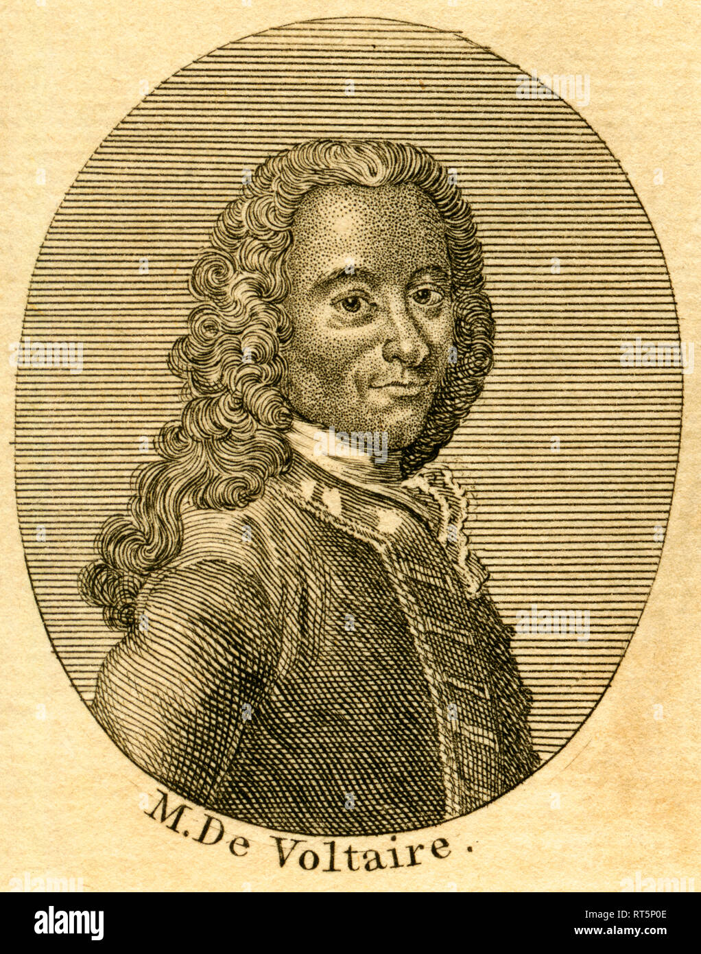 Voltaire, French writer and philosopher, etching from an book of the 18th century / about 1766., Additional-Rights-Clearance-Info-Not-Available - Stock Image